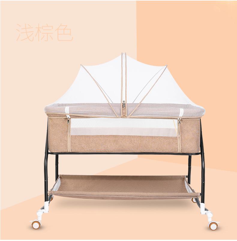 婴儿床新生儿床拼接大床宝宝摇床儿童床摇篮床多功能移动可摺迭详细照片