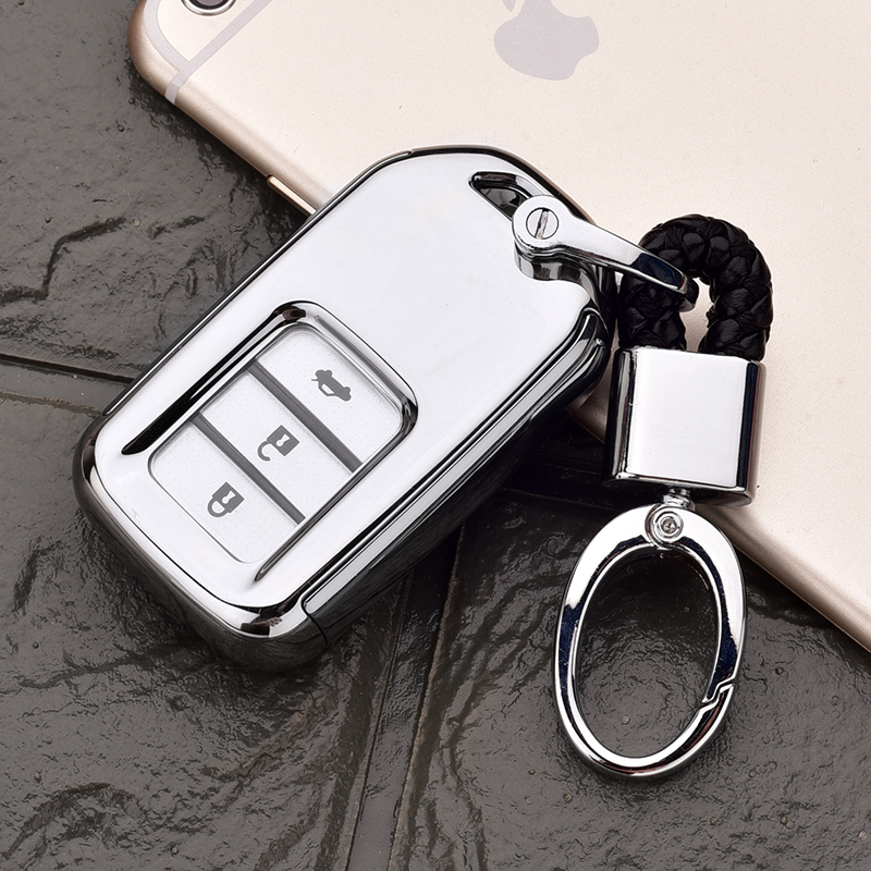 Honda All-inclusive Key Set [platinum Silver Single Shell + Black Hanging Buckle]