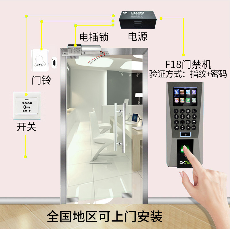 ZKTeco Central Intelligence F18 fingerprint access control system package  network U Disk attendance access control machine installation