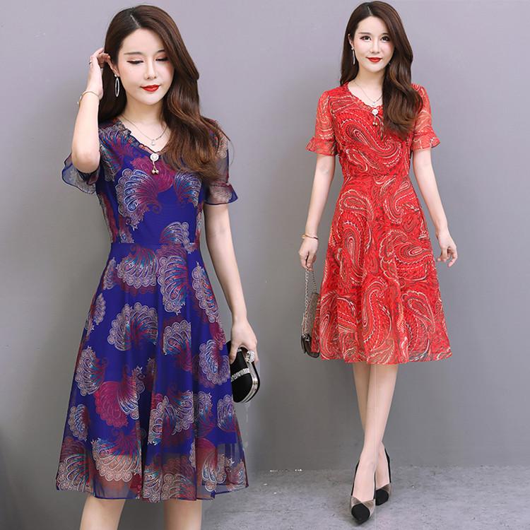 中年妈妈夏装洋气大码连衣裙2019新款中老年人女装气质长裙子高贵