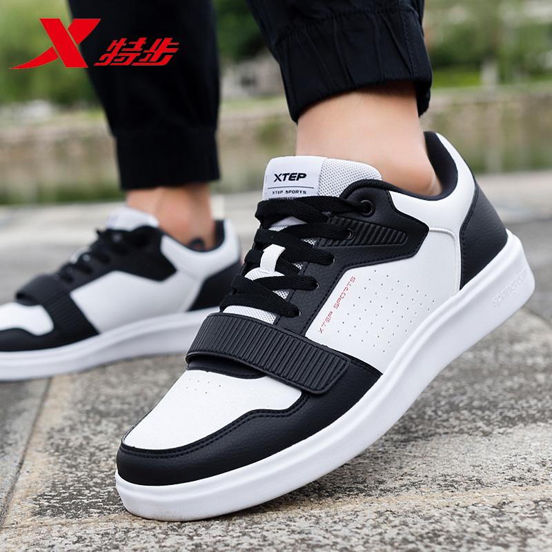 Giày nam Xtep giày mùa xuân 2020 giày thể thao mới dành cho sinh viên Giày đế thấp màu trắng Giày da du lịch Velcro - Dép / giày thường