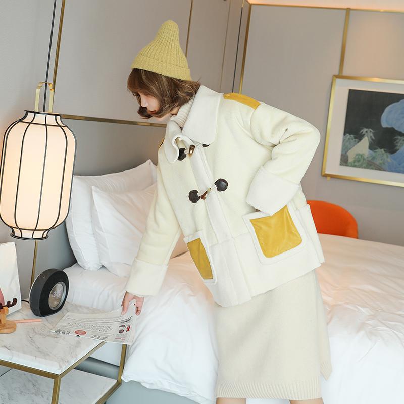 孕妇羊羔毛冬装外套棉衣加厚棉袄女韩版宽松冬季大码棉服怀孕后期