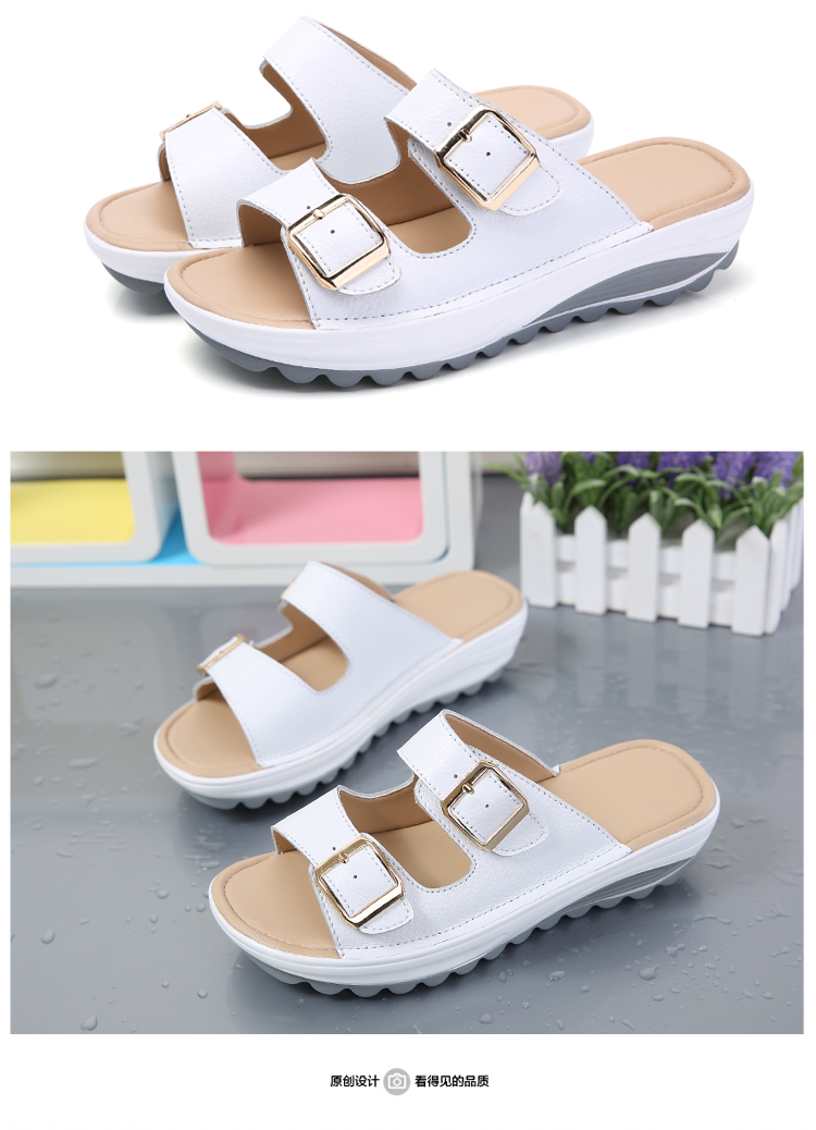 Sepatu Sandal Wanita Kulit Asli Sol Tebal Sol Lunak Anti Selip (Hitam)