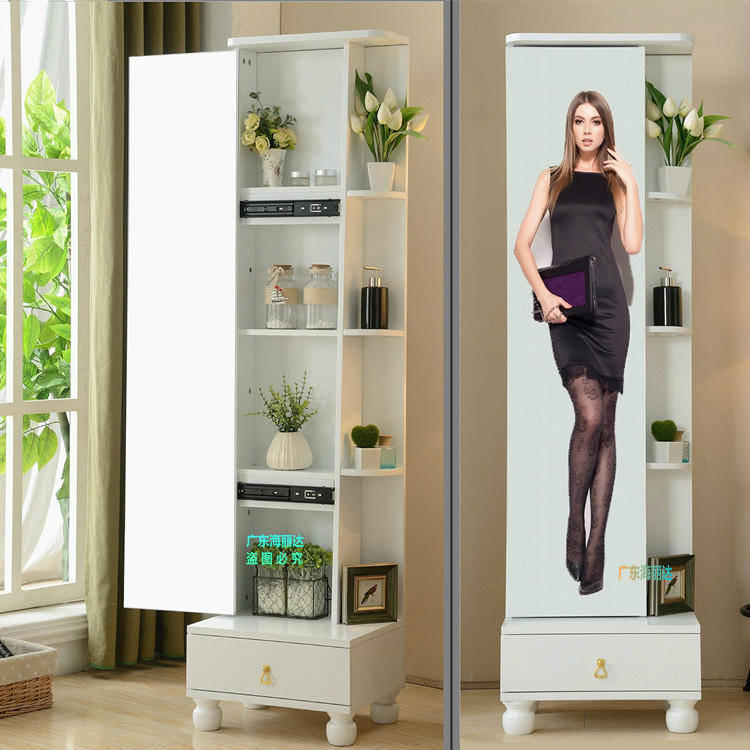 Full body mirror push-pull floor mirror Storage Storage mirror ...