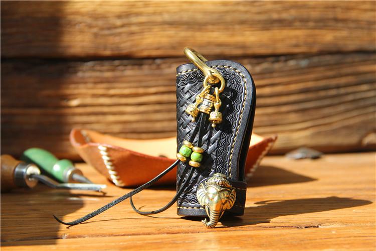 手工牛皮真皮汽车钥匙包定制皮雕植鞣革象神招财扣车用钥匙包男女