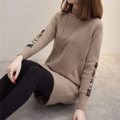 Plus velvet thick sweater ladies set in the long paragraph 2018 new Korean version of the knit bottoming shirt loose wild autumn and winter