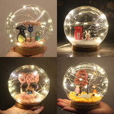 Crystal ball light microstructure handmade DIY glass ball friend couple girlfriends birthday gift creative ornaments