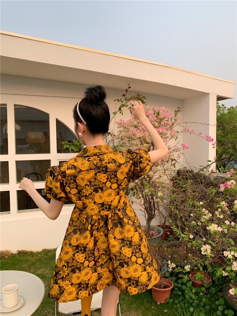 O1CN0133y1lD1FLIopr6Reu !!1978160470 - Summer Turn-Down Collar Puff Sleeves Yellow Floral Print Mini Dress