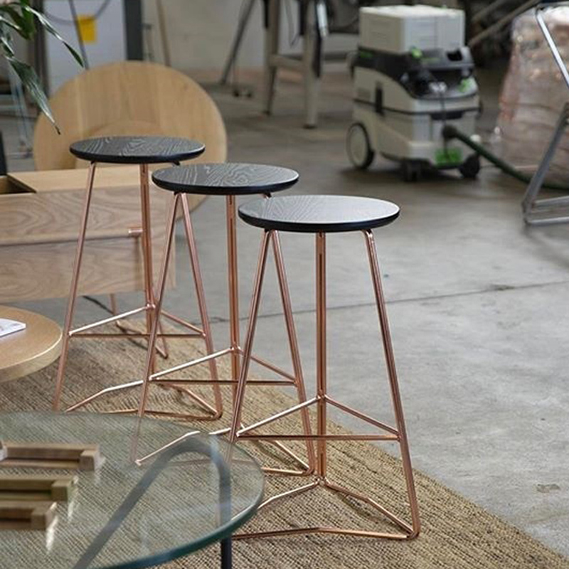 Tremendous Nordic Rose Gold Bar Stool Solid Wood Bar Chair Modern Dailytribune Chair Design For Home Dailytribuneorg