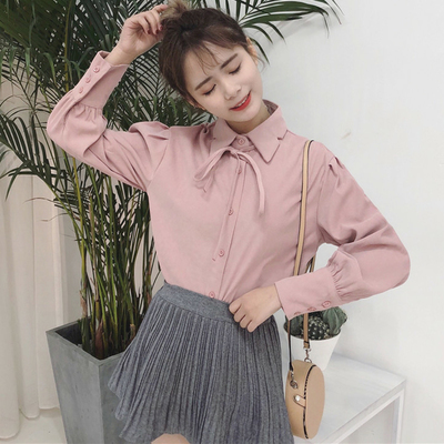 Spring new Korean version of the sweet college wind collar irregular lace long-sleeved shirt students shirt shirt women's clothing