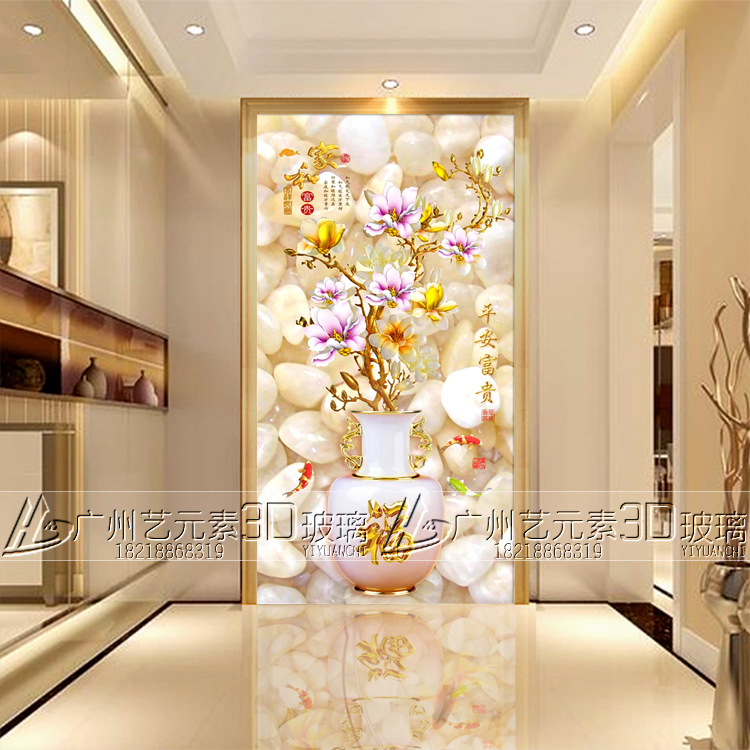 Tempered 3d art glass screen partition TV background wall scrub ...