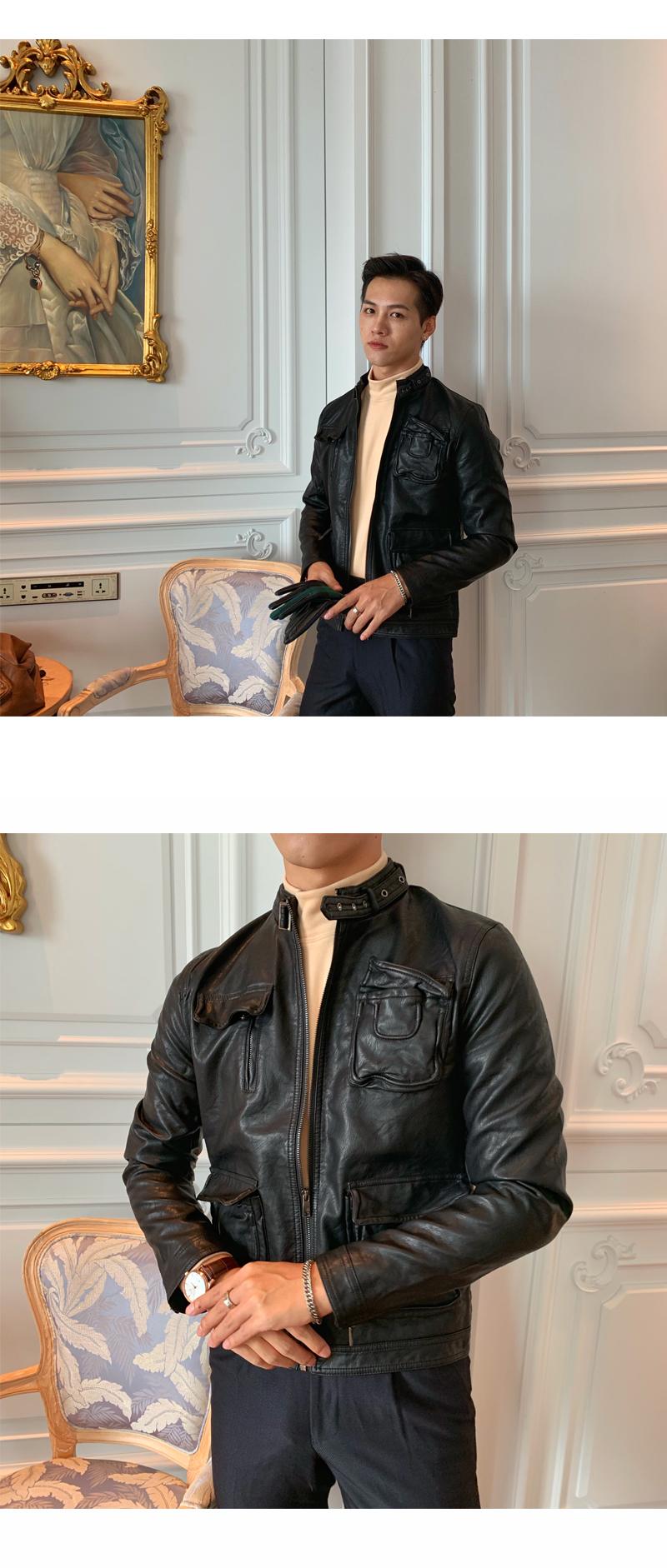 South Korea Korean version handsome collar leather jacket men's retro personality PU leather clothing fashion 100 locomotive leather fashion tide 45 Online shopping Bangladesh