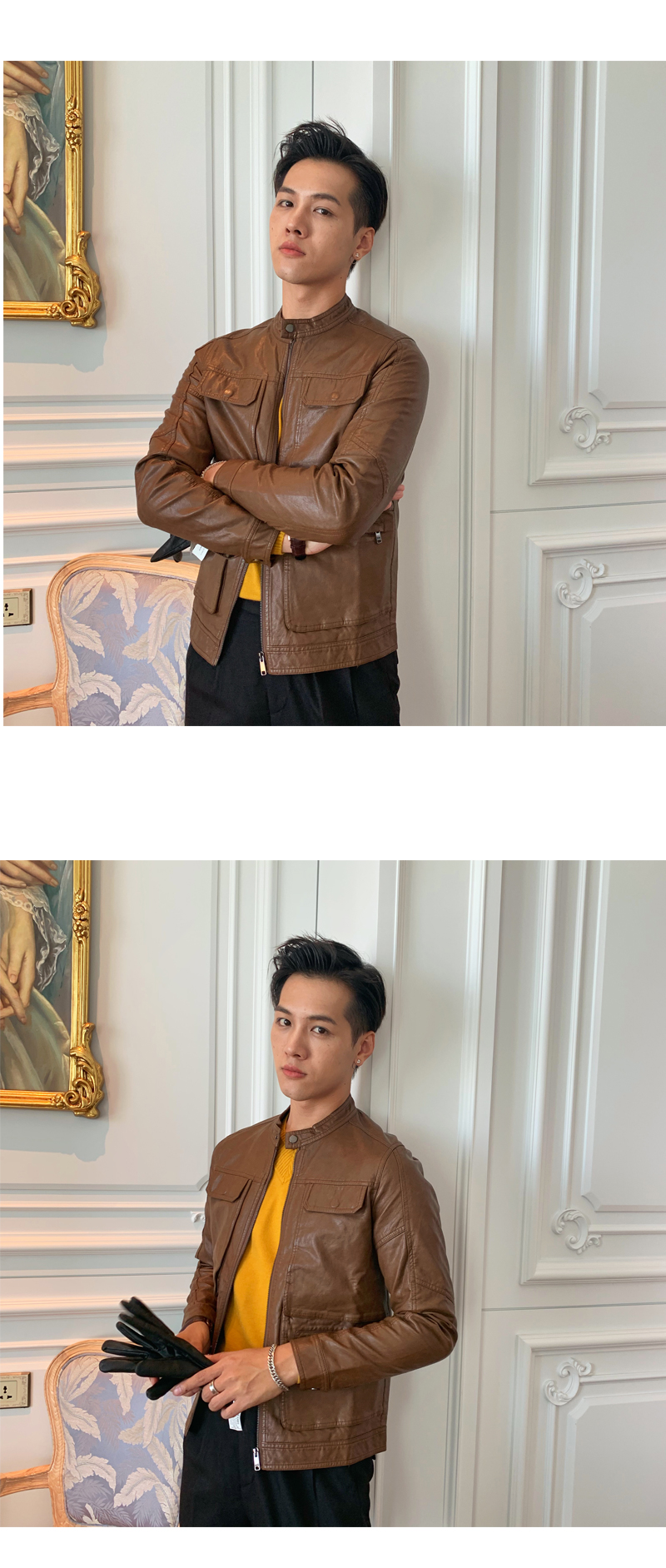 South Korea Korean version handsome collar leather jacket men's retro personality PU leather clothing fashion 100 locomotive leather fashion tide 59 Online shopping Bangladesh
