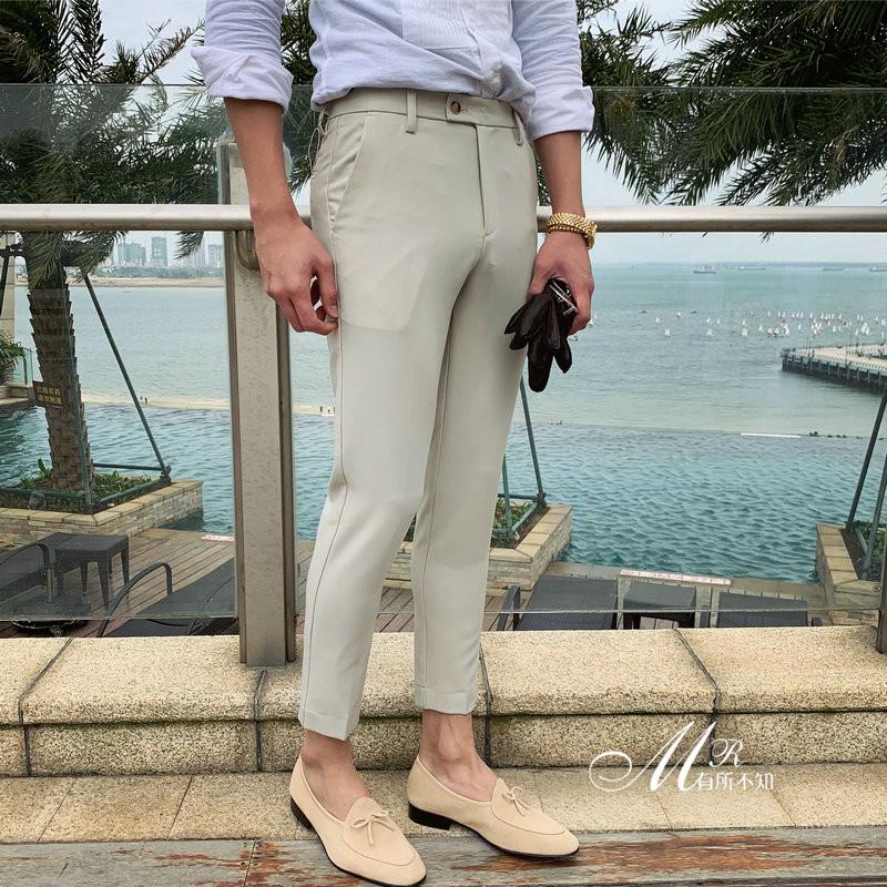Hàn Quốc rắn màu không nóng chân thường xuyên quần tây mùa hè mỏng phần nam mỏng tự nhiên quần trẻ trung đẹp trai - Quần