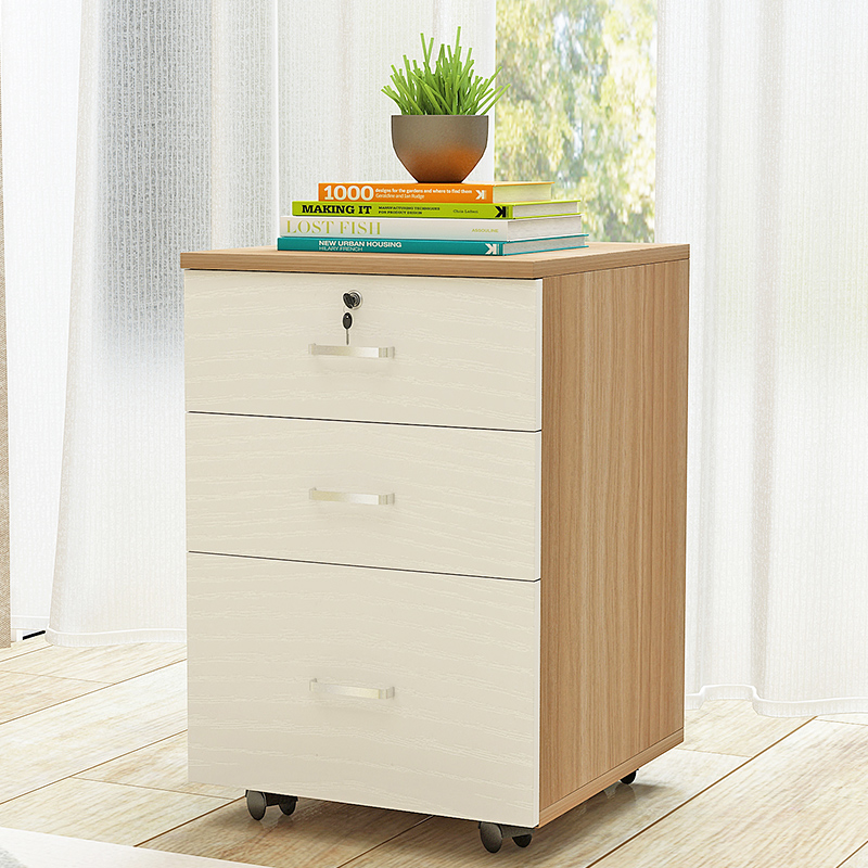 Poetic And Picturesque Wooden Office Cabinet Floor Standing File With Lock Three Drawers Data Storage Mobile Low