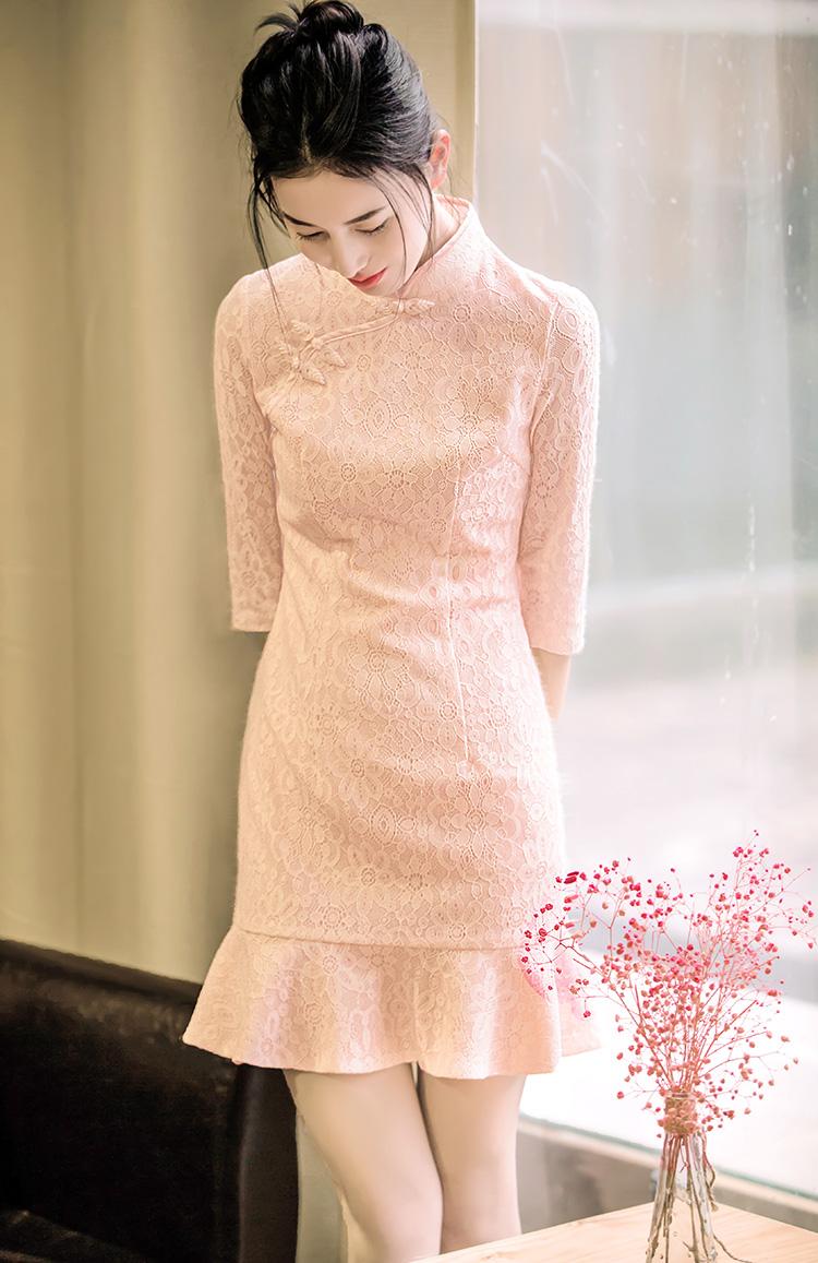 条纹短款旗袍连衣裙vs蕾丝中袖旗袍连衣裙 - 1505147909 - 太阳的博客