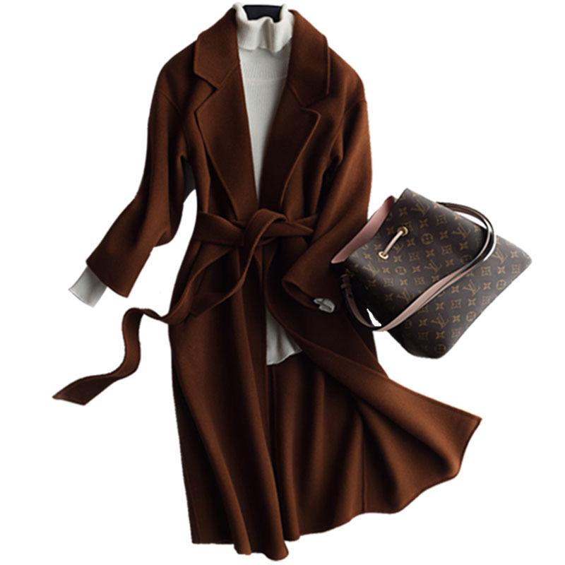 【恒源祥专场】100%羊毛双面呢大衣女中长款毛呢呢子反季清仓