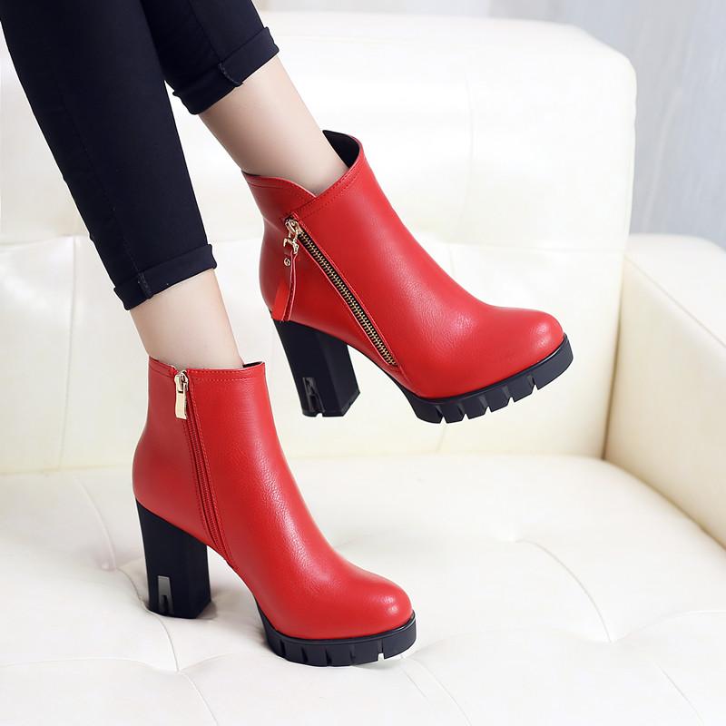 巴宝莉Burberry秋冬短靴女高跟鞋马丁靴红色婚鞋UYE240