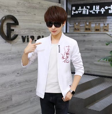 Spring and Autumn Jacket Men Korean Fashion Slim Handsome Men's Thin Casual Jacket Collar Men's Tops