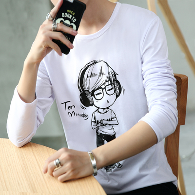 2016 autumn men's long-sleeved t-shirt Korean Slim Men's cartoon printing shirt trend t-shirt