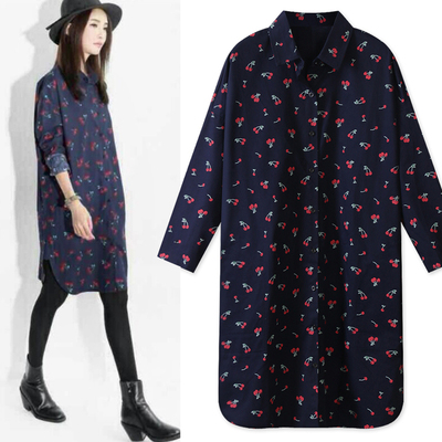 2017 autumn and winter Korean version of the shirt women's large-size long-sleeved BF wind cardigan in the long paragraph loose was thin printed shirt dress