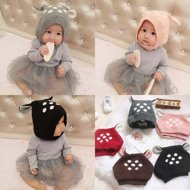 Korean version of the baby cute deer ears knitted hat baby hat boys and  girls autumn and Winter Warm ear wool hat tide 637a1130032