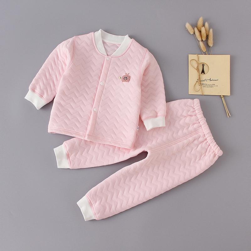 人之初婴儿纯棉衣服秋装0-1岁宝宝加厚儿童保暖内衣套装睡衣秋冬2