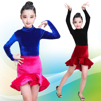 Children's dance skirt girls practice clothes children's velvet Latin dance costume competition costumes