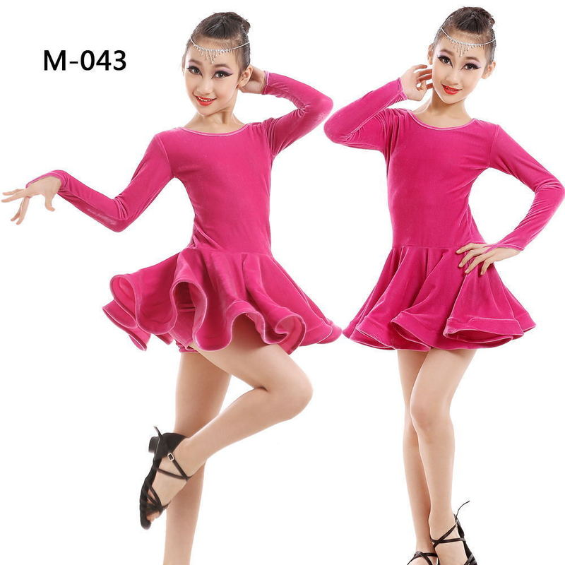 Girls Latin skirt children Latin dance costume dance competition performance practice clothes velvet long sleeves