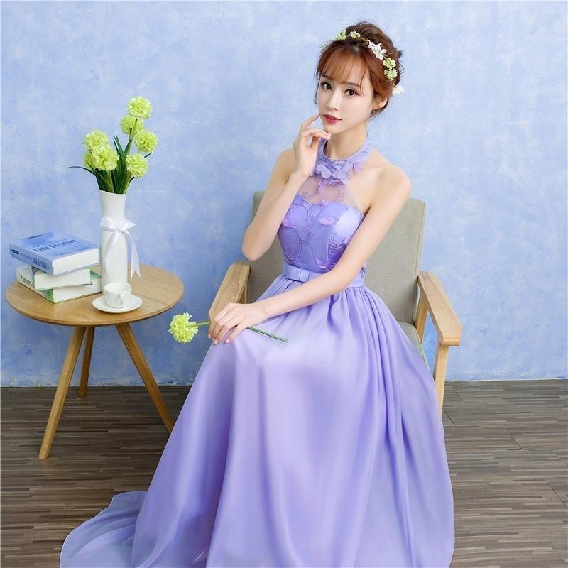 伴娘服长款高贵姐妹团宴会女抹胸紫色a伴娘2019长裙韩版晚礼服新款