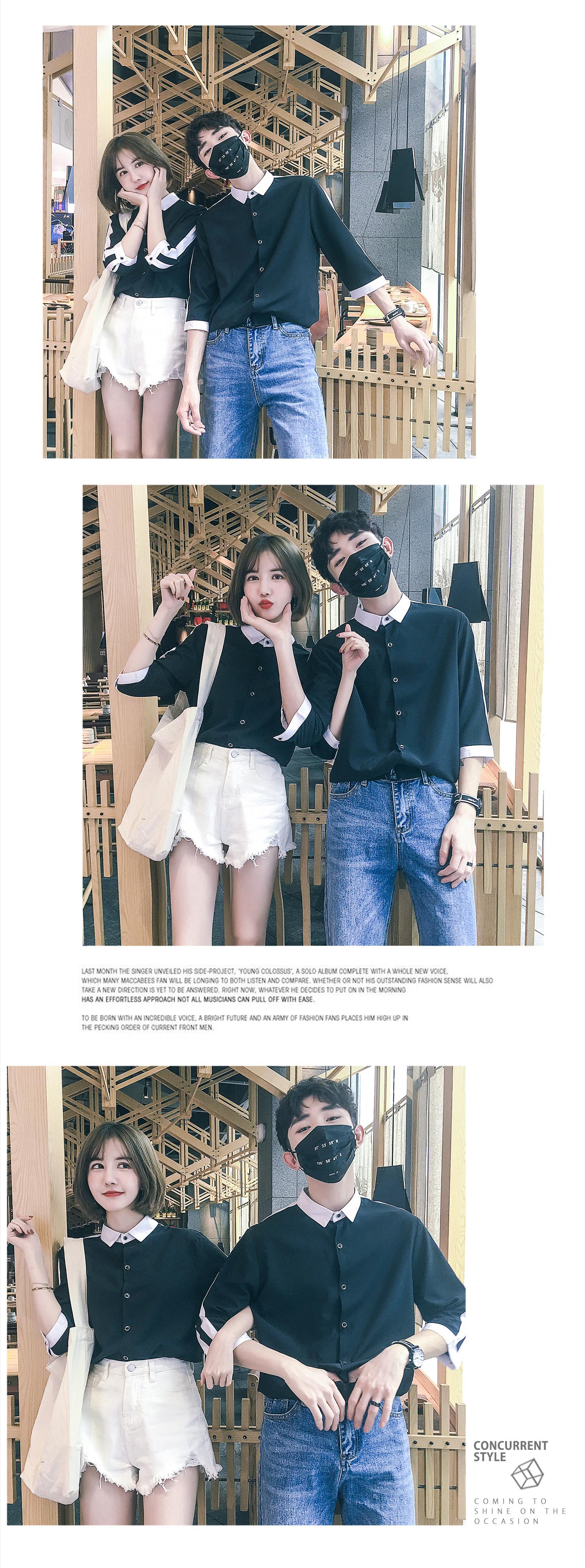 夏季七分袖拼接情侣衬衣修身男女同款工作制服 y463/p45男装类