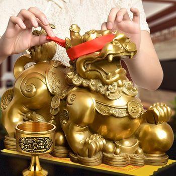 开光铜貔貅摆件一对纯铜貔恘皮丘招财