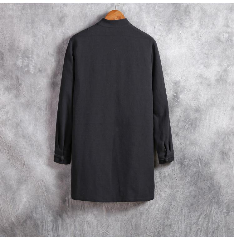 Gió của Trung Quốc bông áo gió nam phần dài cổ áo lỏng retro phong cách đàn ông của mùa xuân và mùa thu dài tay Trung Quốc áo khoác