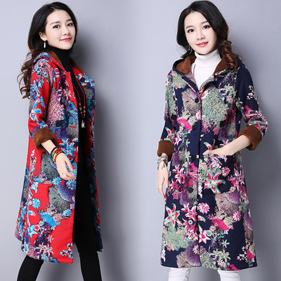 2017 autumn and winter new ethnic style women loose large size art fancy cardigan jacket long-sleeved padded cotton padded clothes