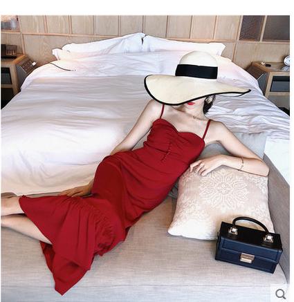 12月02日最新优惠赫本小红裙气质泰国巴厘岛沙滩裙女海边度假长裙子显瘦红色连衣裙