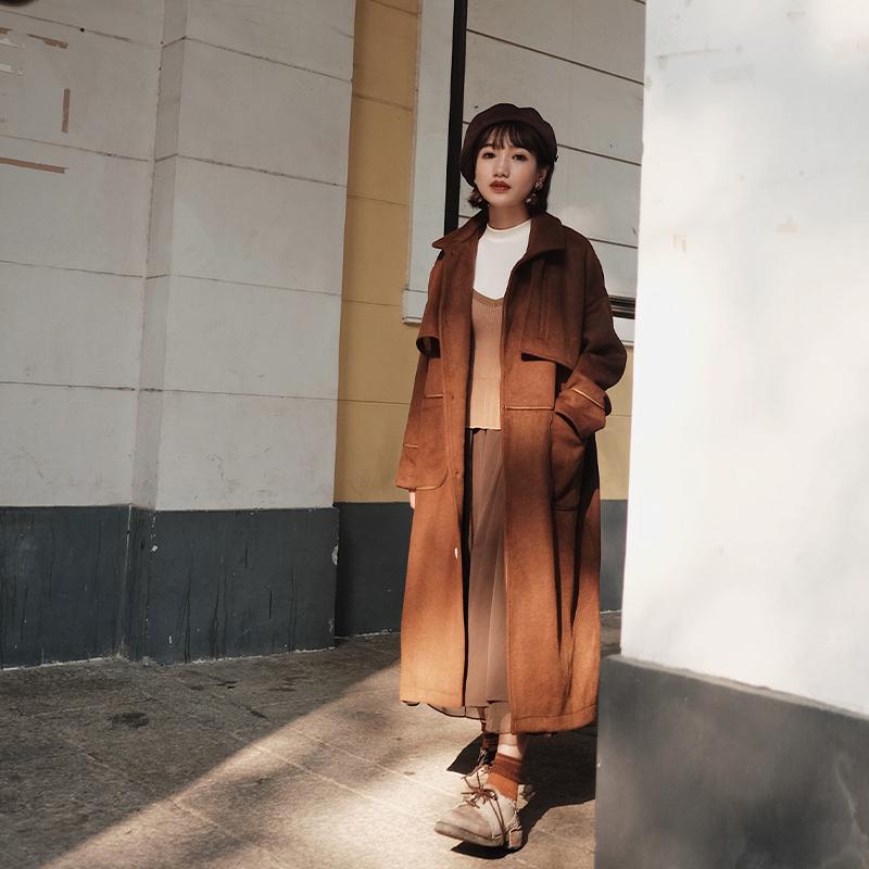 inkday Nhật Bản ánh sáng retro áo len len nữ tất cả các trận đấu túi bóng tương phản màu sắc phong cách Anh mùa đông áo mới - Accentuated eo áo
