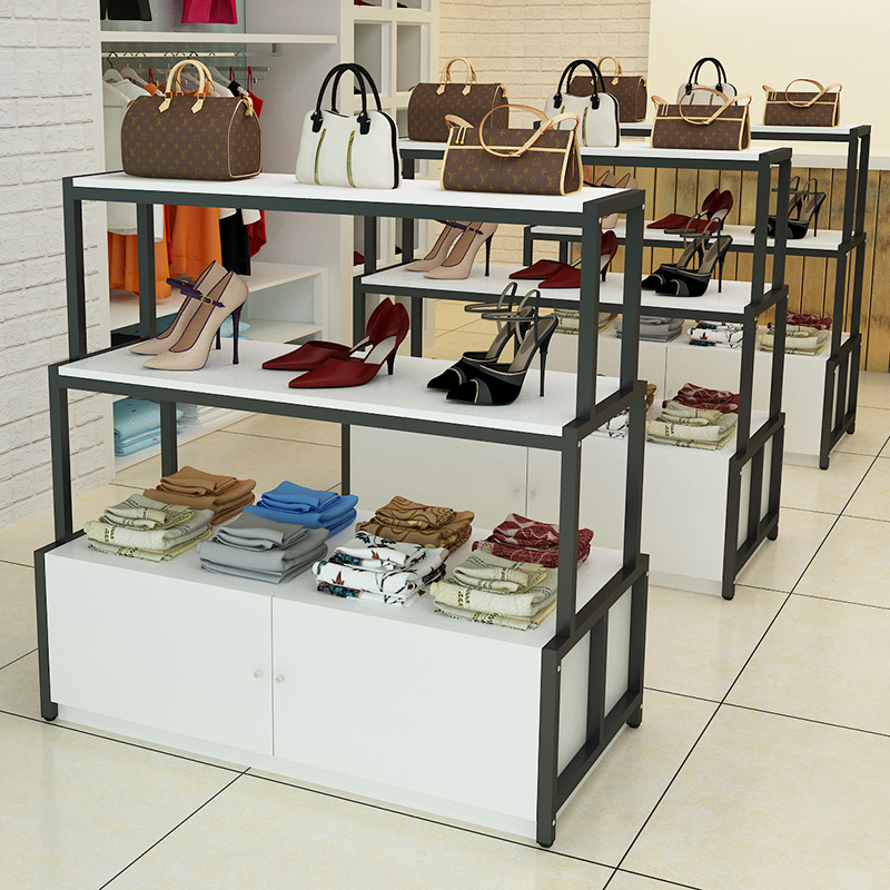 2071d907574 Wrought iron platform floor-style Nakajima rack high and low display  shelves clothing store shoes bag ...