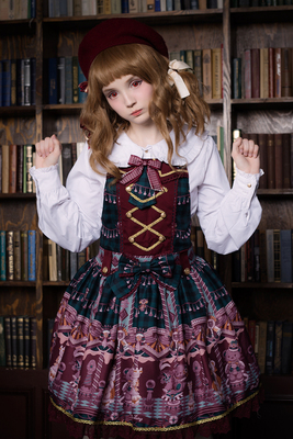 taobao agent Soufflesong exclusive design【Chocolate bear】lolita strap printing jsk appointment not available