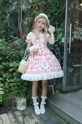 taobao agent 【Part of the spot】Rose Valley Exclusive Design【Strawberry Rabbit】Printed lolita short sleeve OP