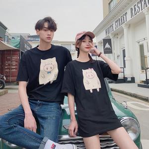 8027# 實拍+小視頻    高品質全棉 情侶裝夏女裙男T...