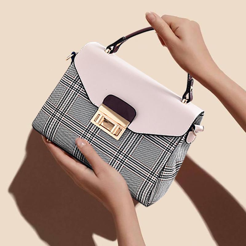 夏季女包小包包2018新款潮韩版手提单肩休闲斜挎小清新格子纹布包
