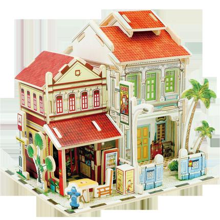 若态 3D立体拼图 木质小屋模型 多国风情可选