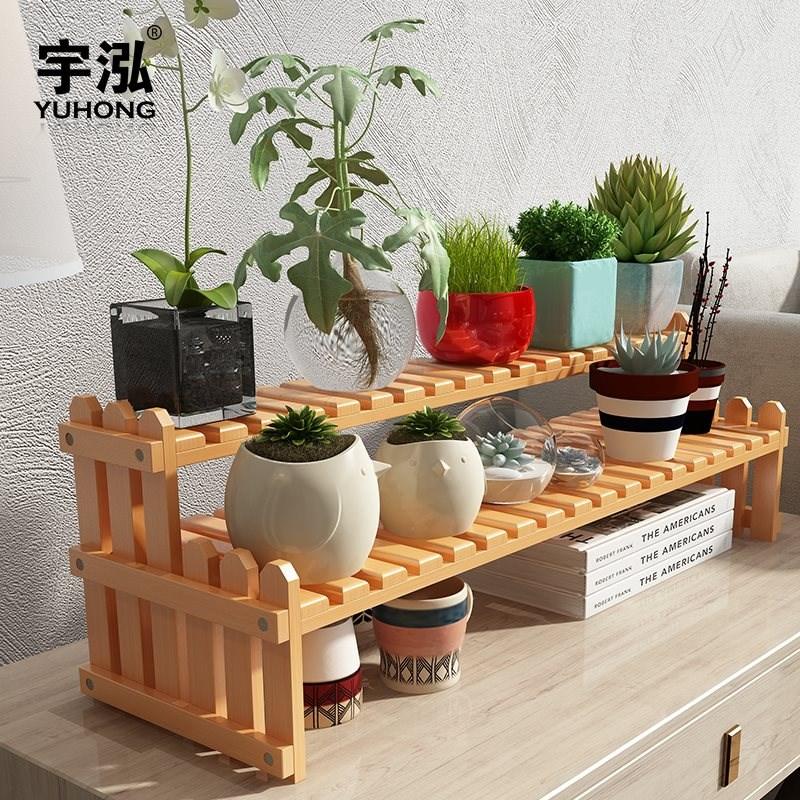 放多肉植物的小花架多层小型桌面上阳台飘窗台实木质植物架子