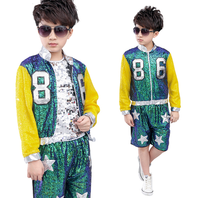 Children Jazz modern dance performance costume boys and girls hip-hop stand drumming children sequins jazz dance performance