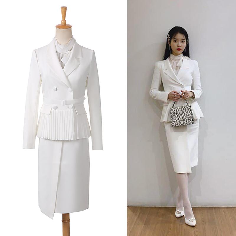 德鲁纳酒店张满月李知恩同款白色西装女套装气质时尚韩版职业套裙