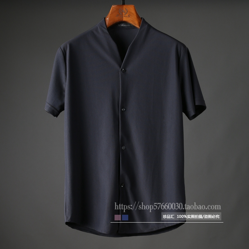 Mùa hè cao cấp thời trang nhỏ V-Cổ lưới thoải mái và thoáng khí của nam giới kinh doanh bình thường ngắn tay áo sơ mi mỏng áo sơ mi nam áo sơ mi nam ngắn tay hàng hiệu