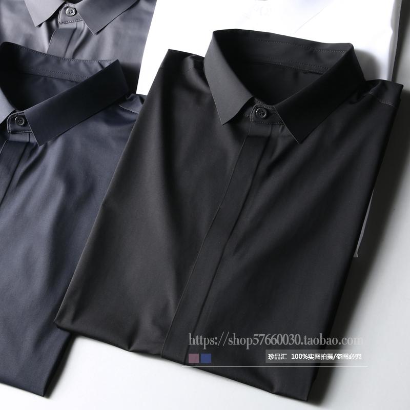 2018 mùa hè cao cấp liền mạch gel mượt stretch đàn hồi miễn phí hot của nam giới kinh doanh bình thường mỏng ngắn tay áo sơ mi nam áo sơ mi nam hàng hiệu