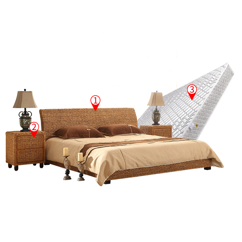 988d6c4fdb Hotel apartment double bed Indonesian rattan bed rattan bed rattan bed  bedside rattan furniture rattan rattan rattan bed TD