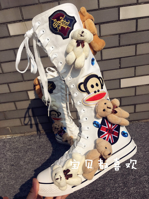 缝制韩版泰迪熊水钻潮女手工学生鞋靴子高筒原创帆布内增高帆布鞋