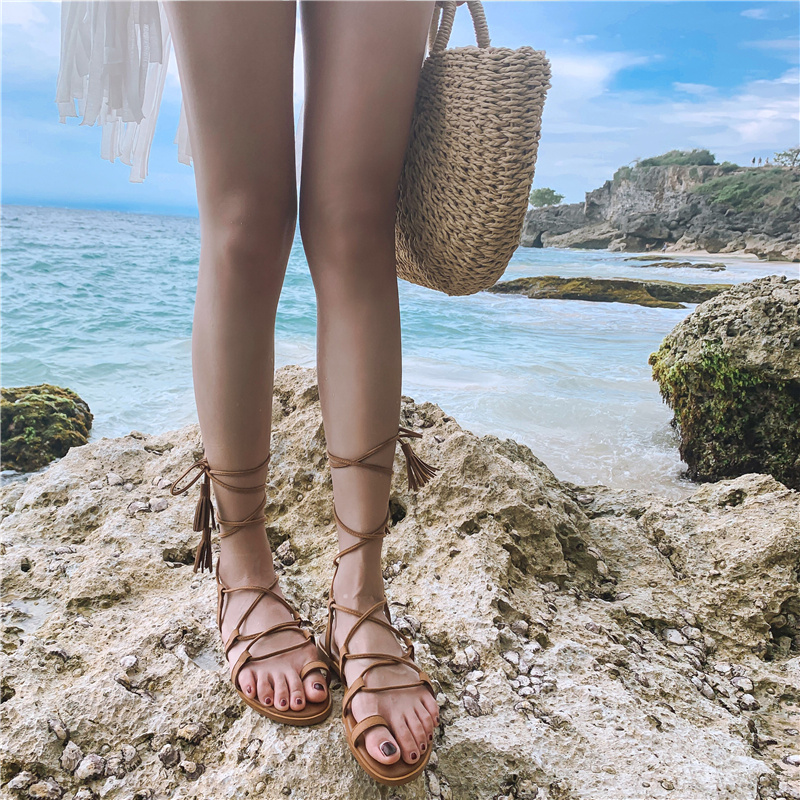 WOMENS CELEB BOHO FLAT BEACH SHOES LACES ANKLE STRAPPY SANDLES SHOES SIZE UK